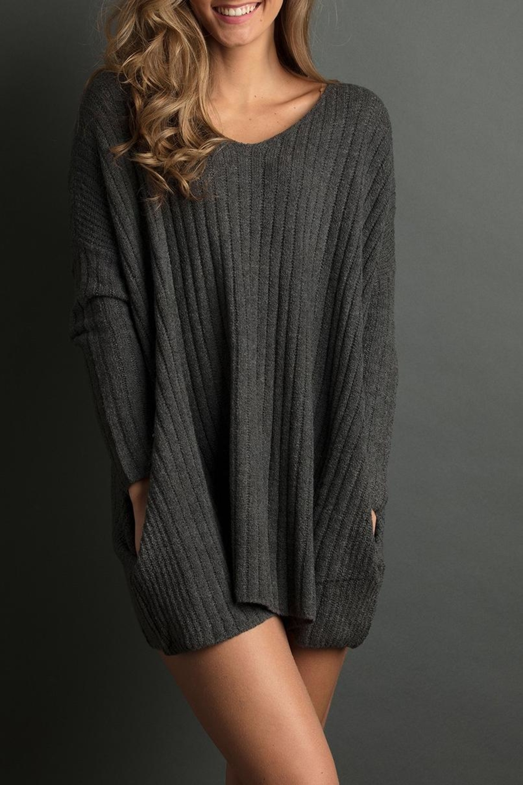 The Lemon Collection Cozy Ribbed Sweater - Front Cropped Image