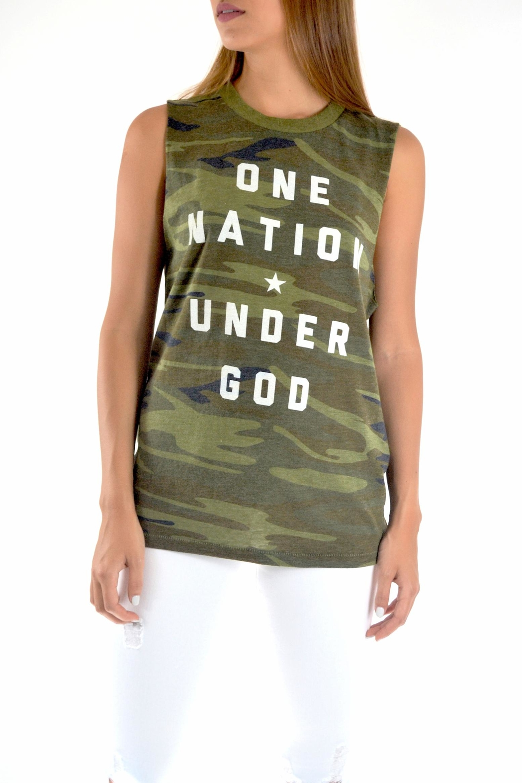 THE LIGHT BLONDE Camo Tank - Front Cropped Image
