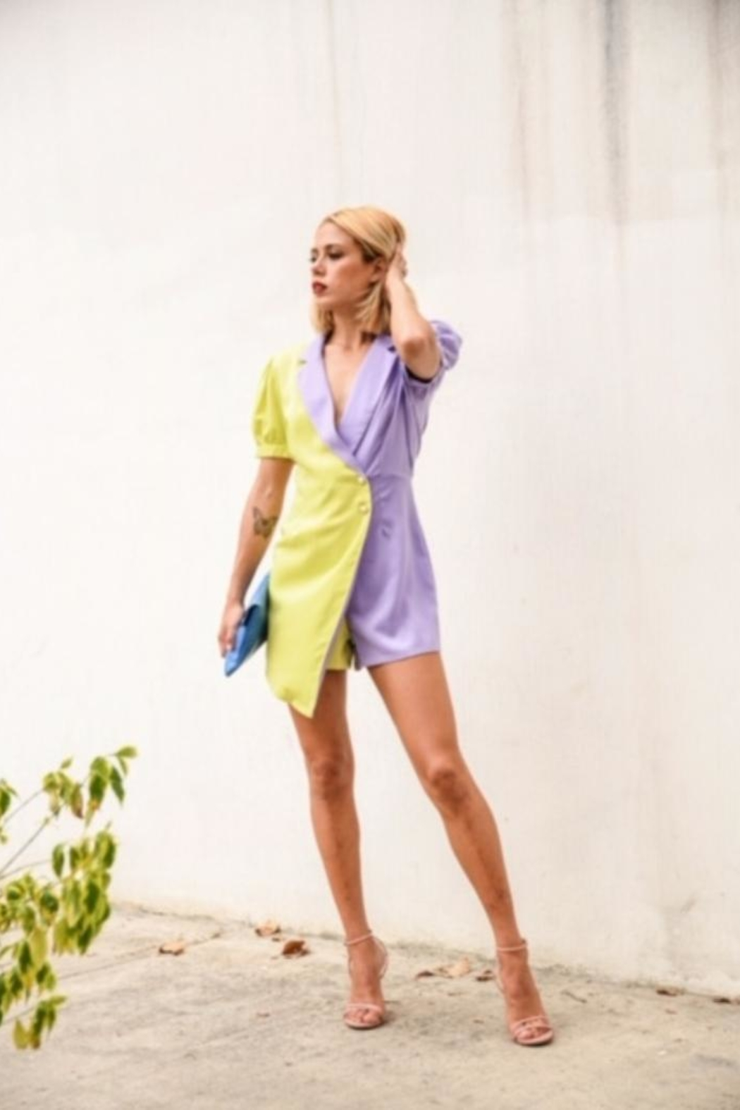 the moon Color Block Romper - Back Cropped Image