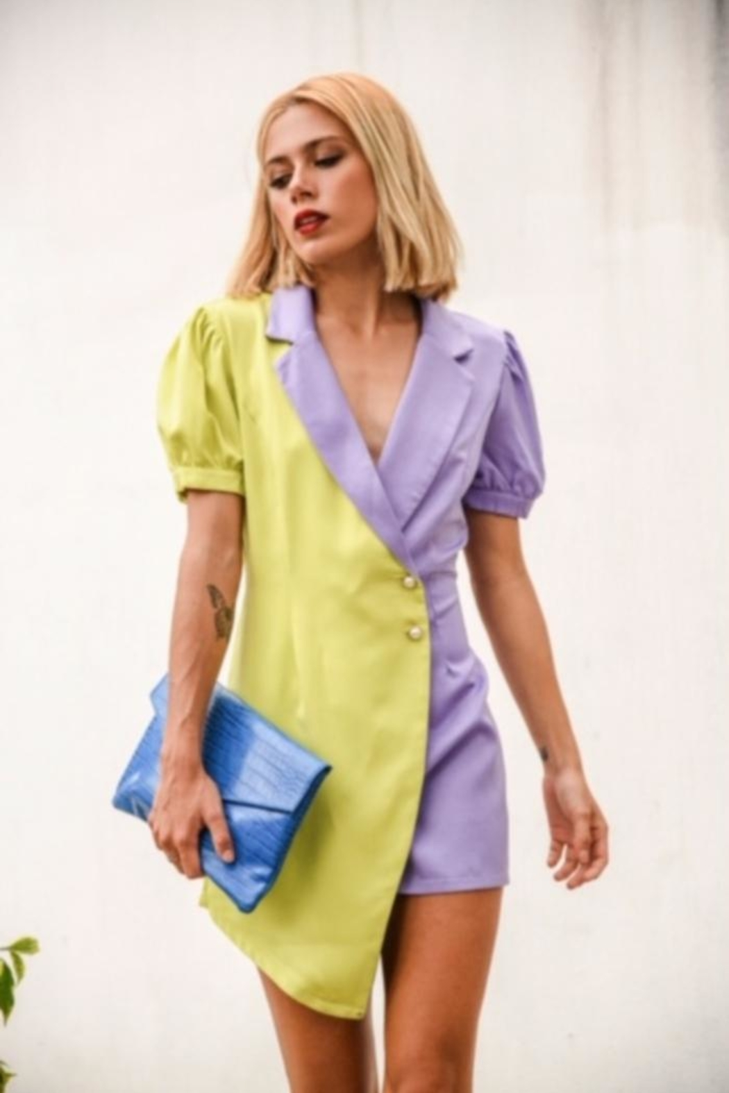 the moon Color Block Romper - Side Cropped Image