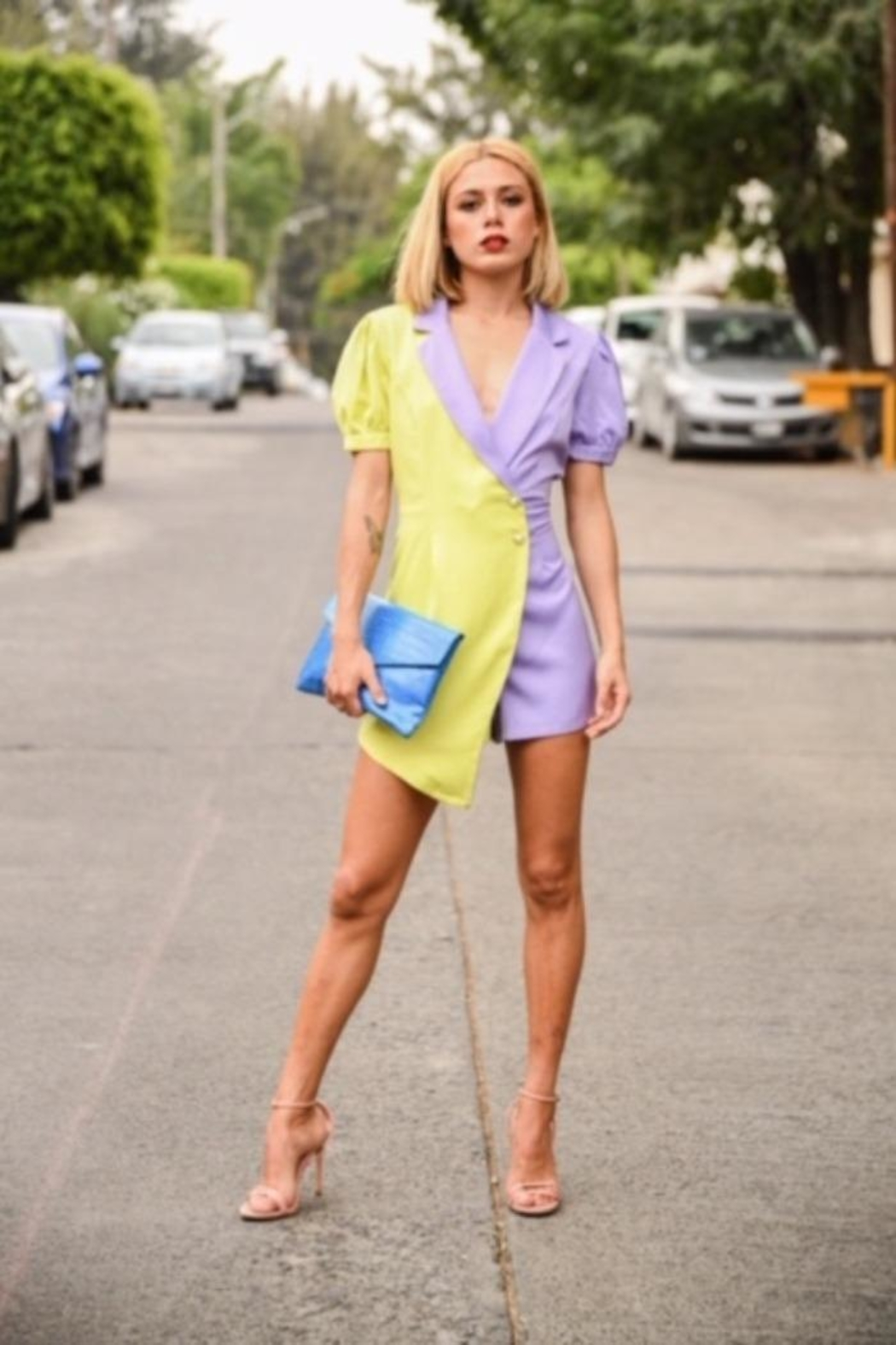 the moon Color Block Romper - Front Full Image