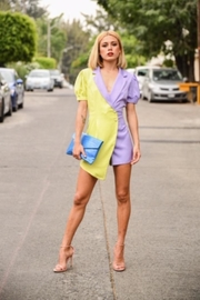 the moon Color Block Romper - Front full body