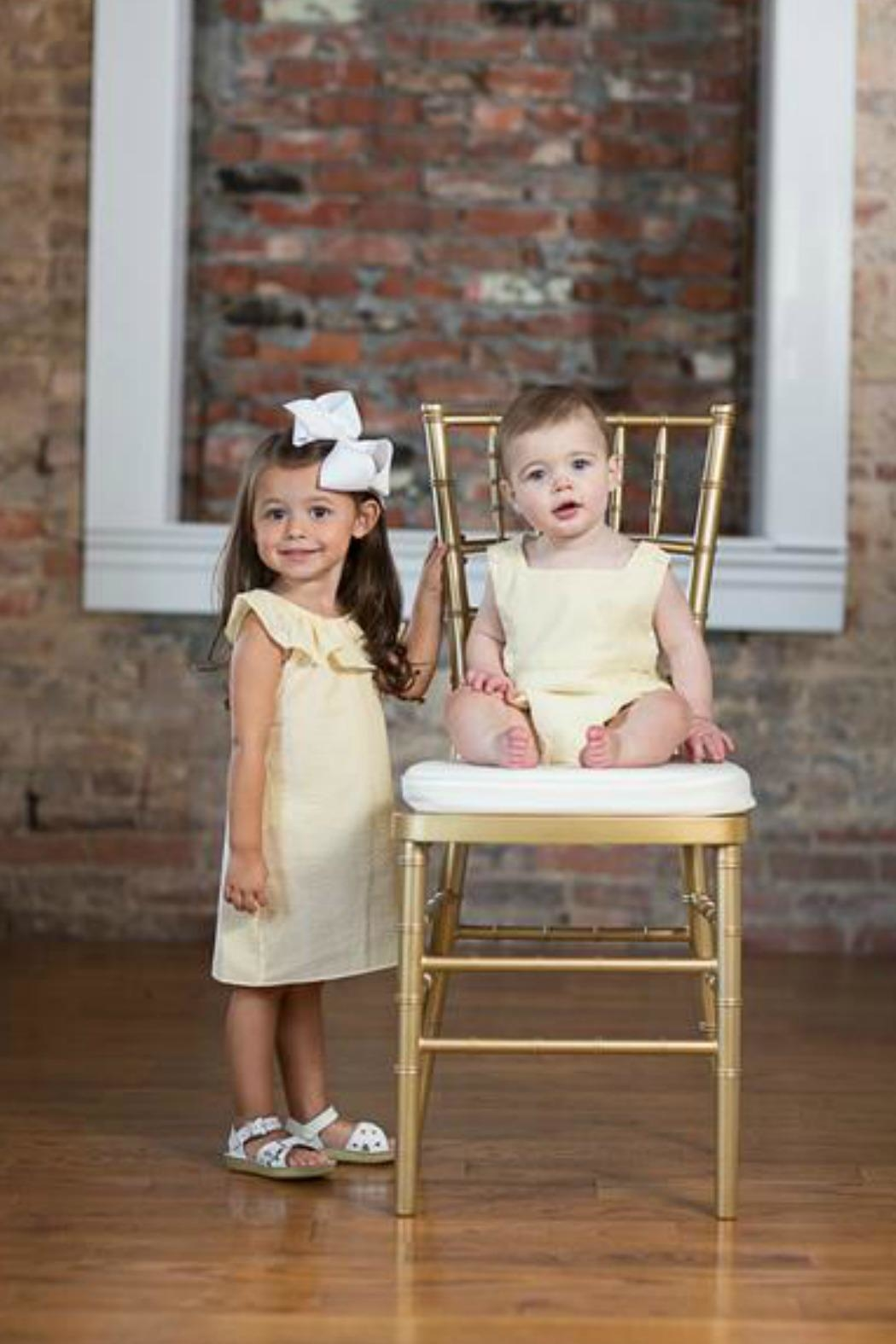 The Oaks Apparel Jillian Yellow-Seersucker Dress - Front Full Image
