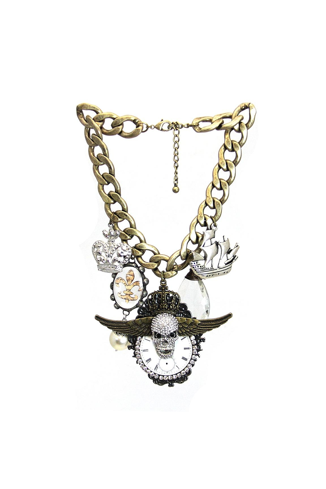 Art By Amy Necklace-Skull Crown Ship - Main Image