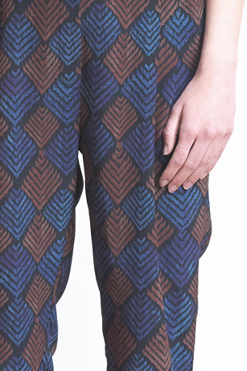 The Podolls Chevron Ankle Silk Pants - Front Full Image