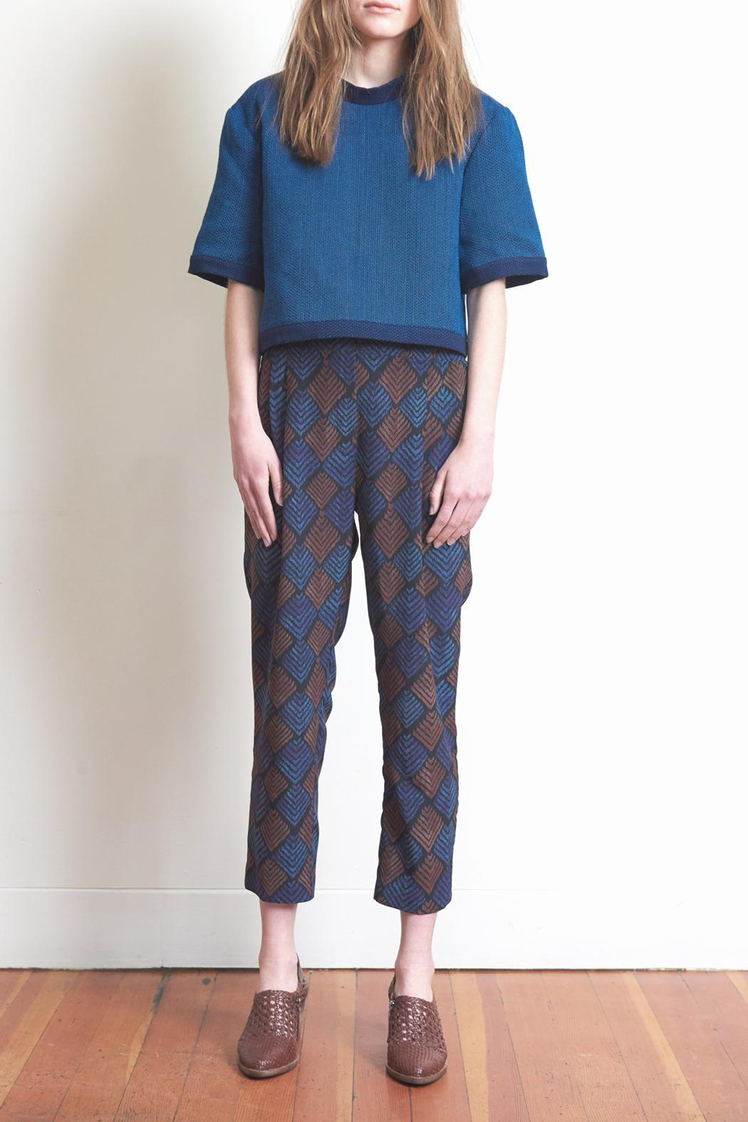 The Podolls Chevron Ankle Silk Pants - Front Cropped Image