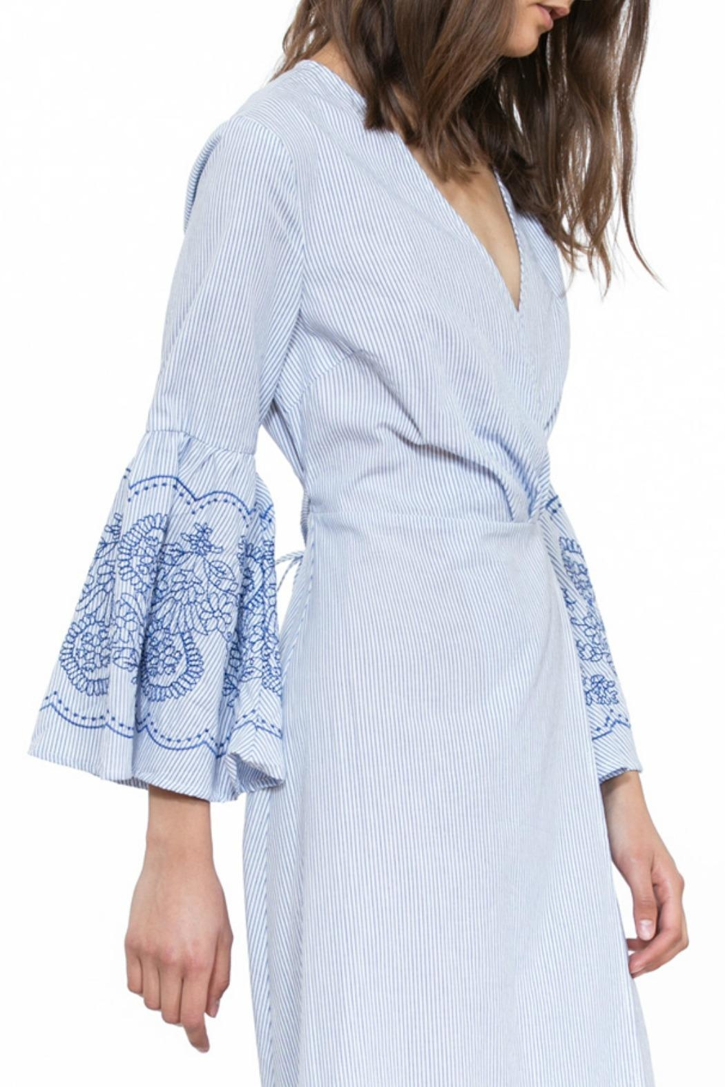 The Room Embroidered Wrap Dress - Front Full Image