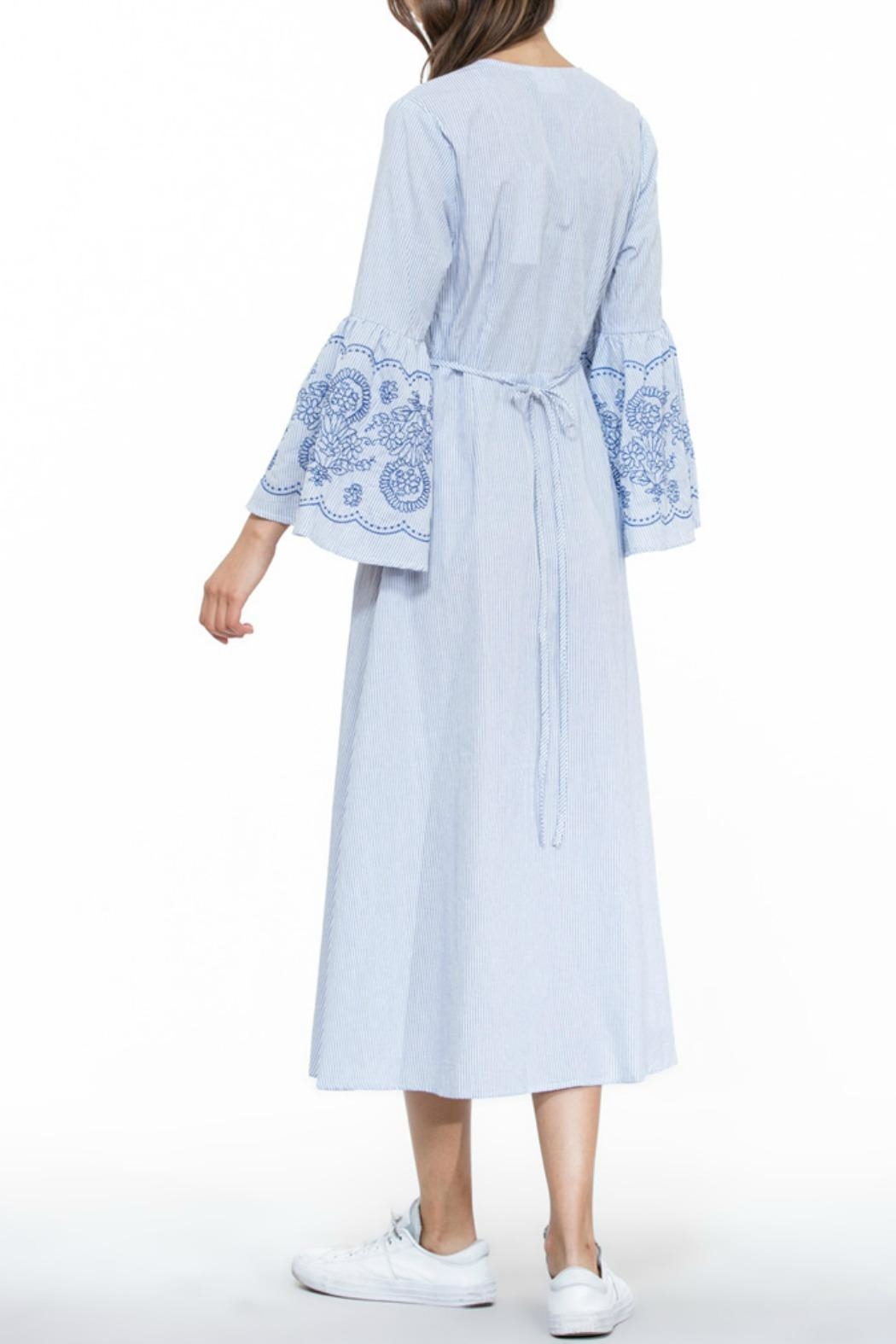 The Room Embroidered Wrap Dress - Side Cropped Image