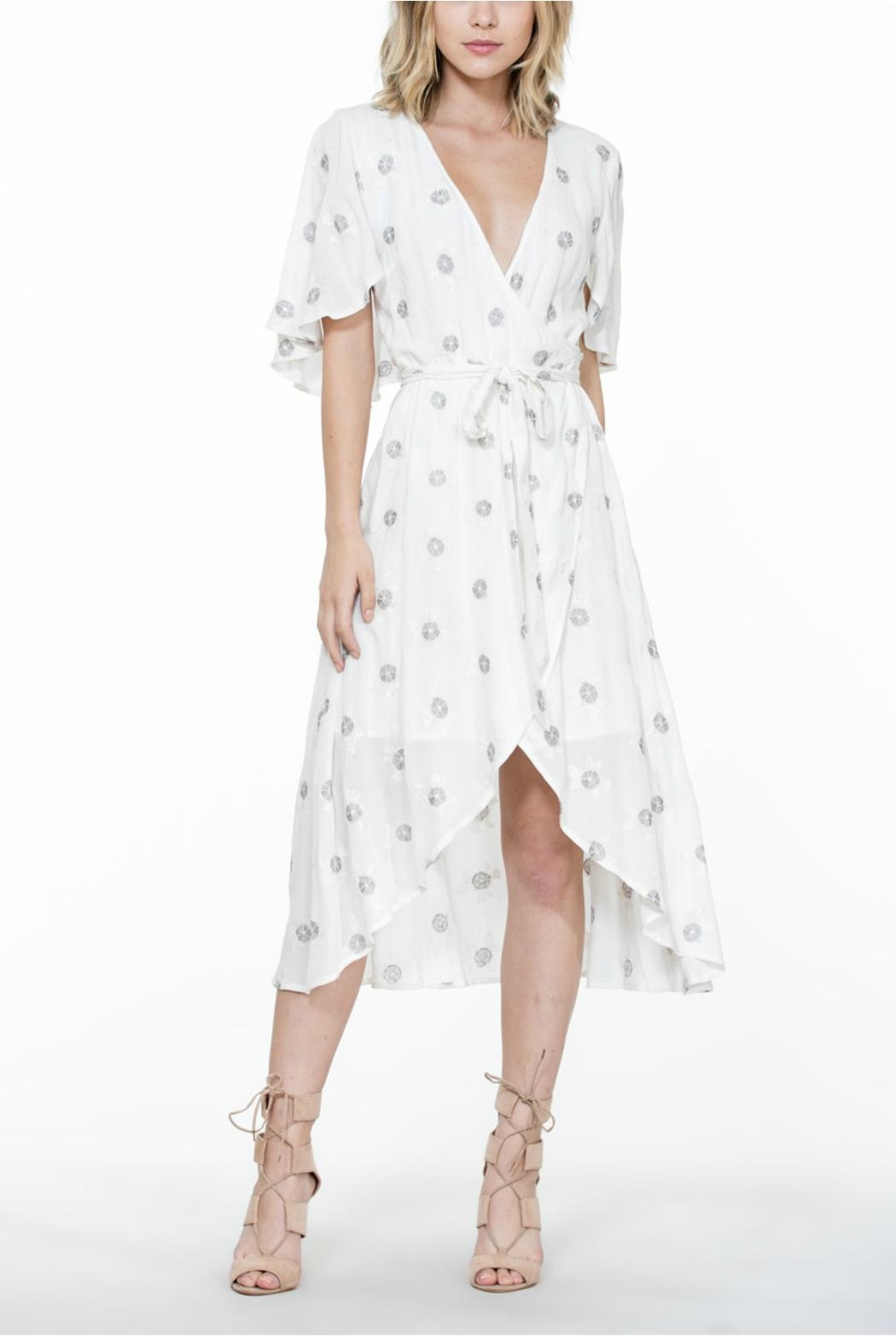 The Room Embroidery Wrap Dress - Front Cropped Image