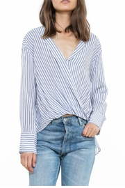 The Room Stripe Wrap Blouse - Front cropped
