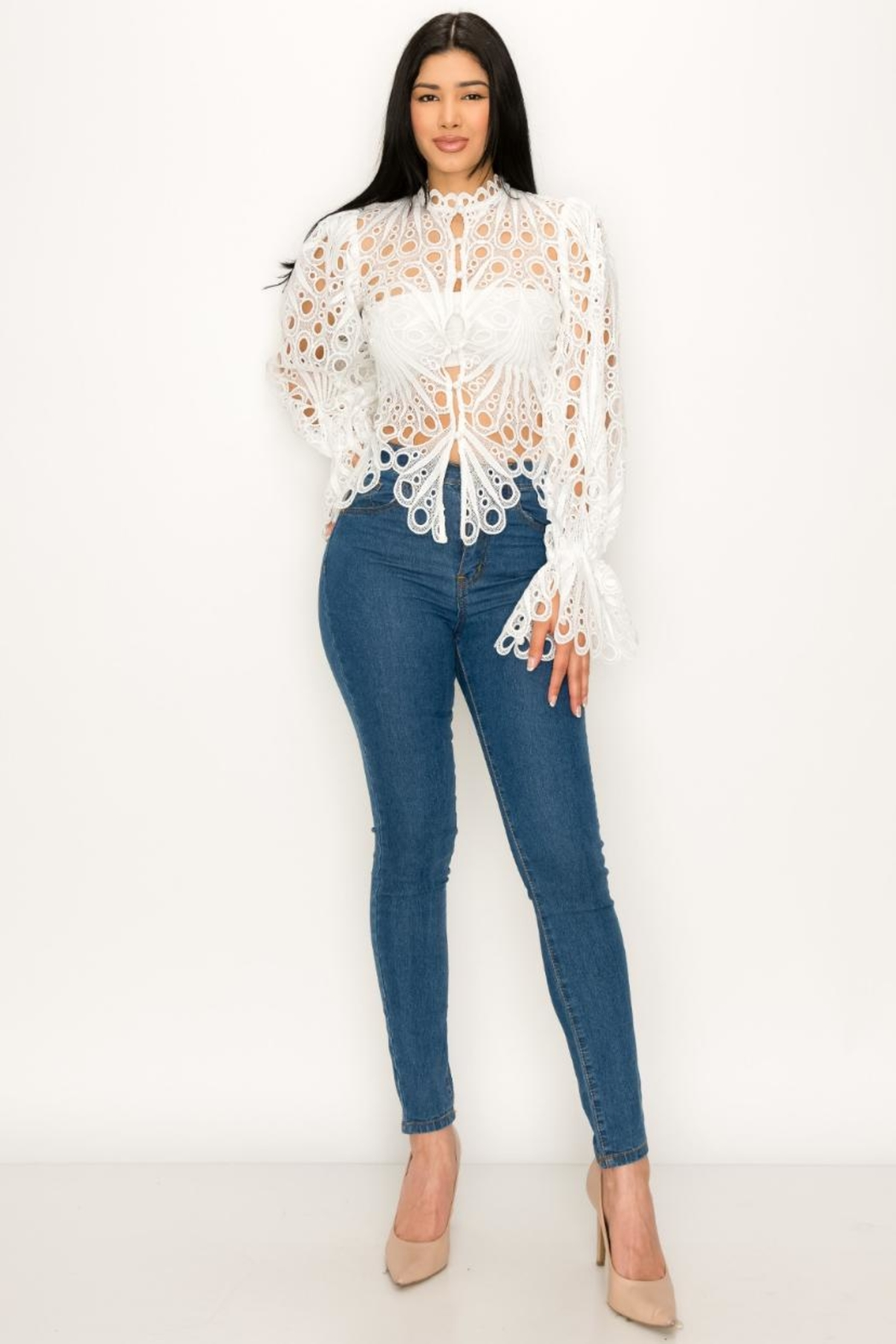 The Sang Crochet Bell-Sleeve Top - Main Image