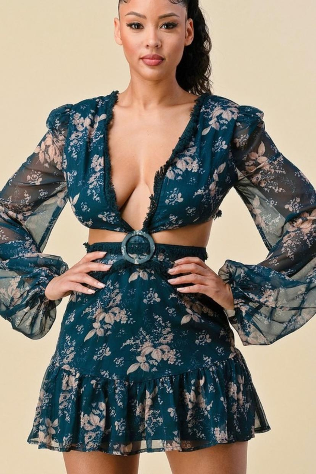 The Sang Cut-Out Floral Dress - Main Image