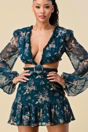 The Sang Cut-Out Floral Dress - Front cropped