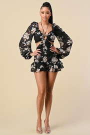 The Sang Cut-Out Floral Romper - Product Mini Image