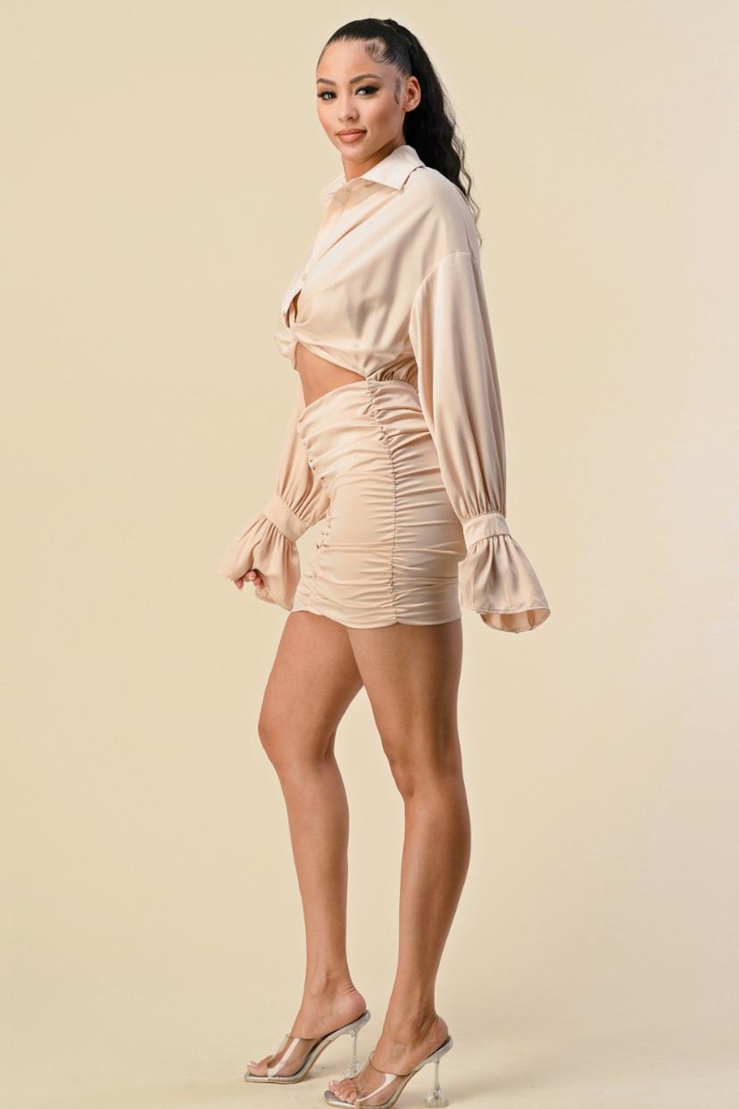 The Sang Cut-Out Mini Dress - Front Full Image