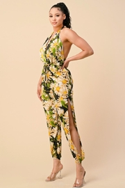 The Sang Floral Halter Jumpsuit - Front full body