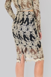 The Sang Golden Lace Skirt - Front full body