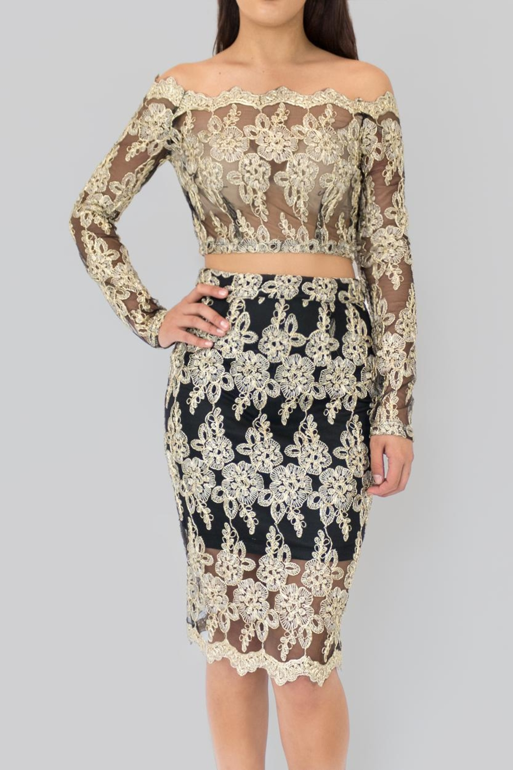 The Sang Golden Lace Skirt - Main Image
