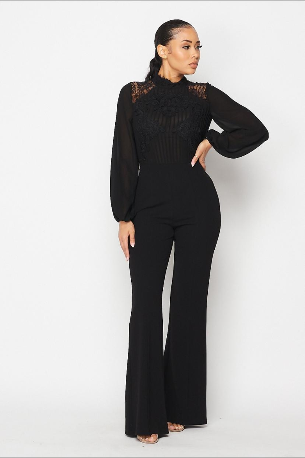 The Sang Lace Trim Jumpsuit - Side Cropped Image
