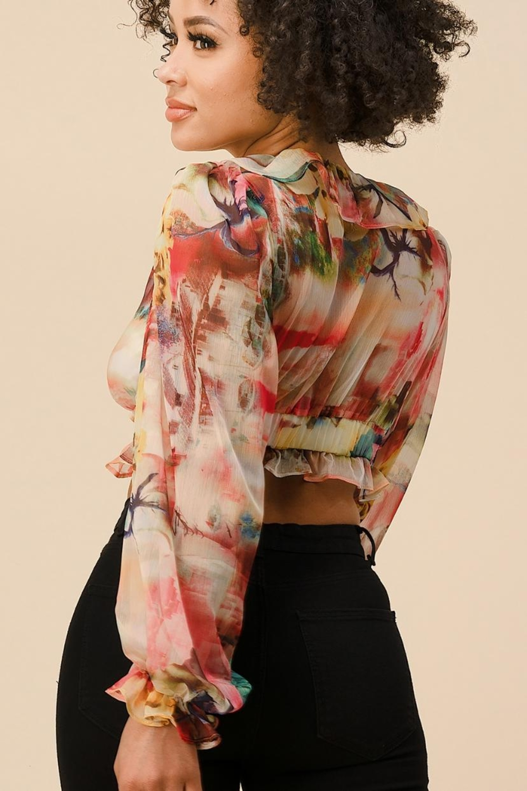 The Sang Multicolored Ruffle Top - Front Full Image