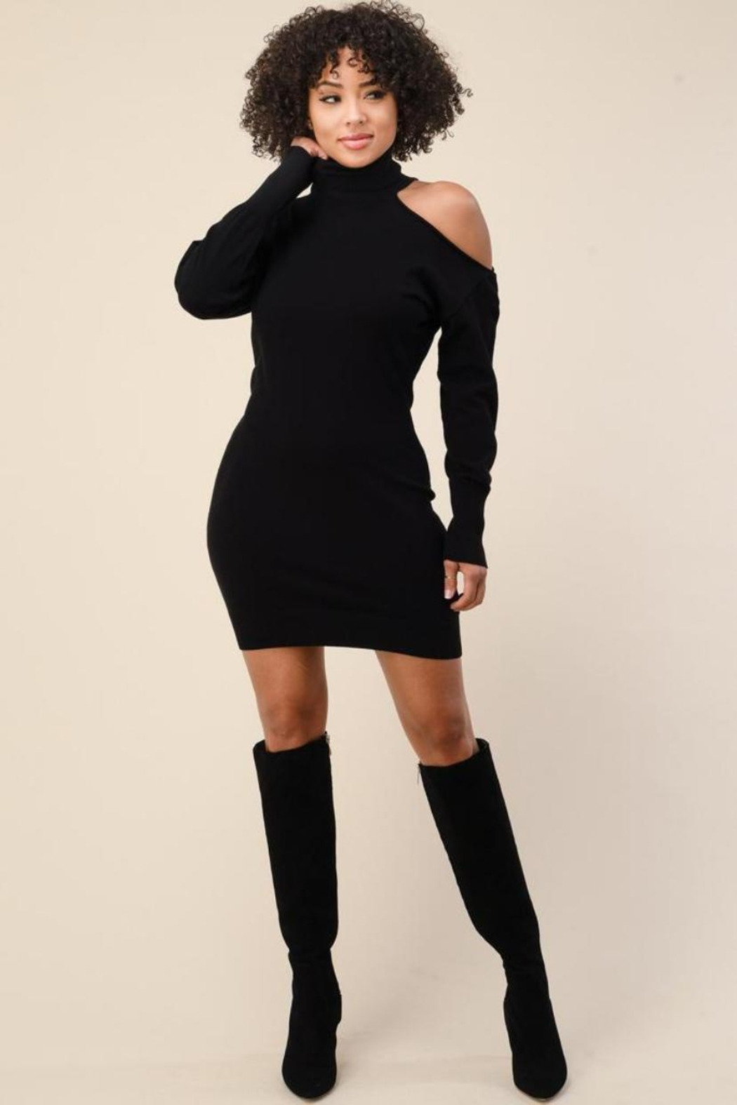 The Sang One-Shoulder Sweater Dress - Main Image
