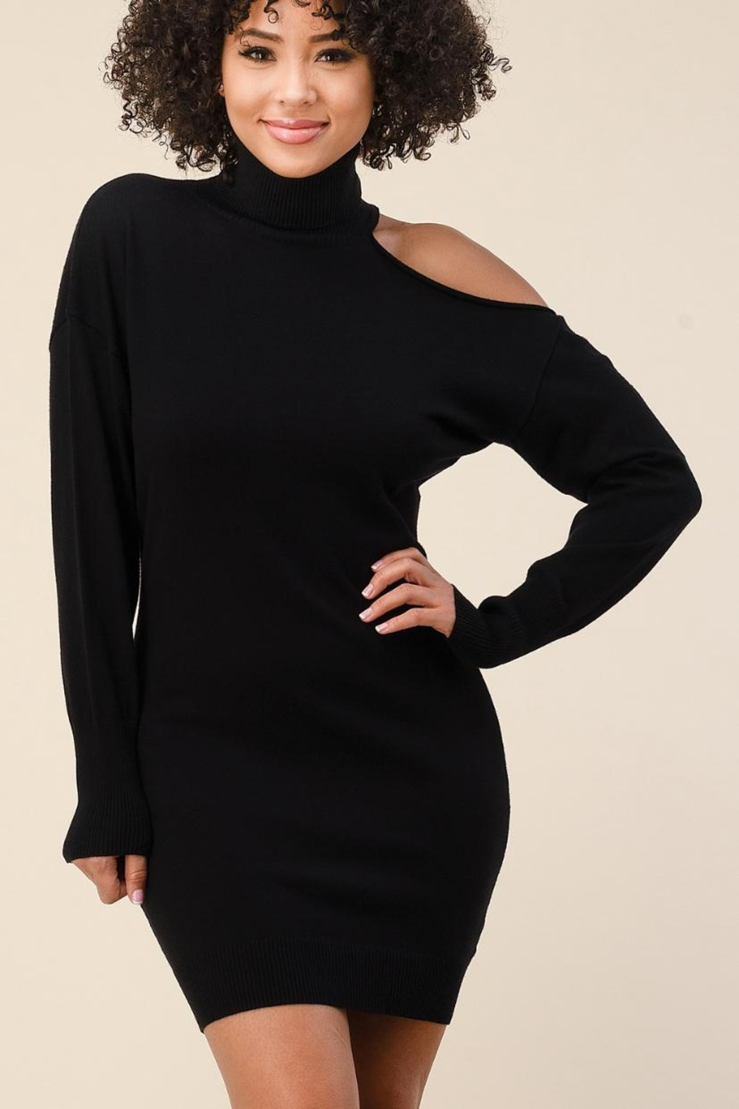 The Sang One-Shoulder Sweater Dress - Front Full Image
