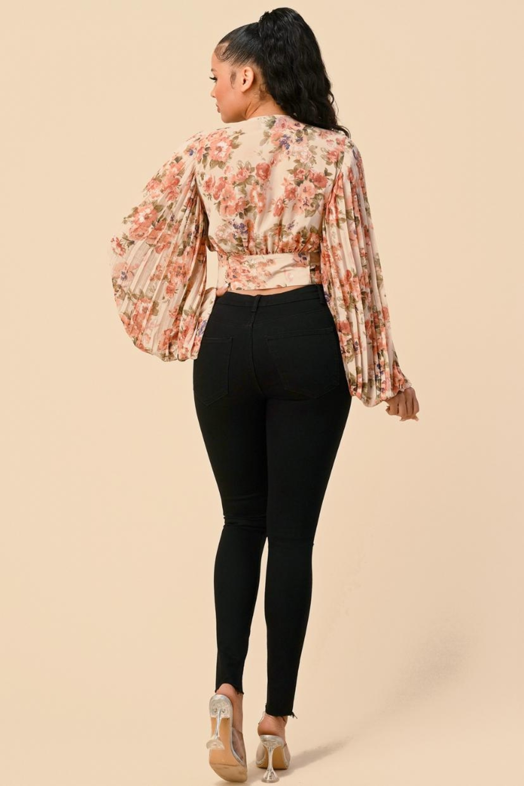 The Sang Pleated Floral Top - Front Full Image
