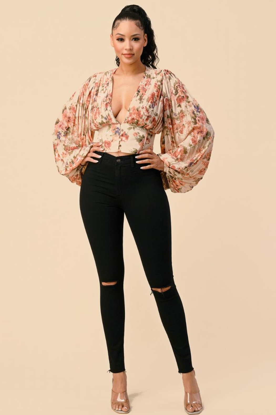 The Sang Pleated Floral Top - Main Image