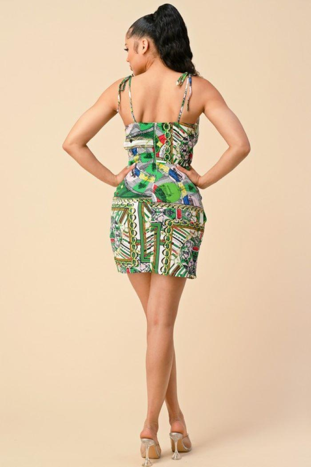 The Sang Wrap Multi Pattern Chain Dress - Front Full Image