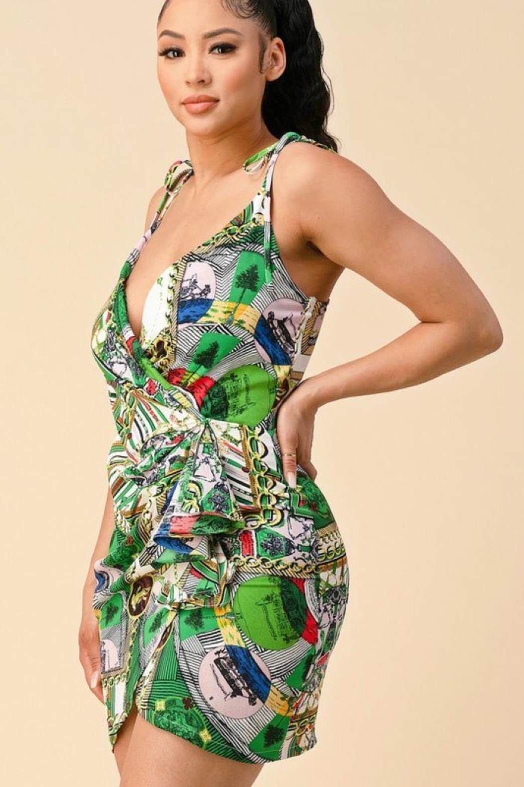 The Sang Wrap Multi Pattern Chain Dress - Back Cropped Image
