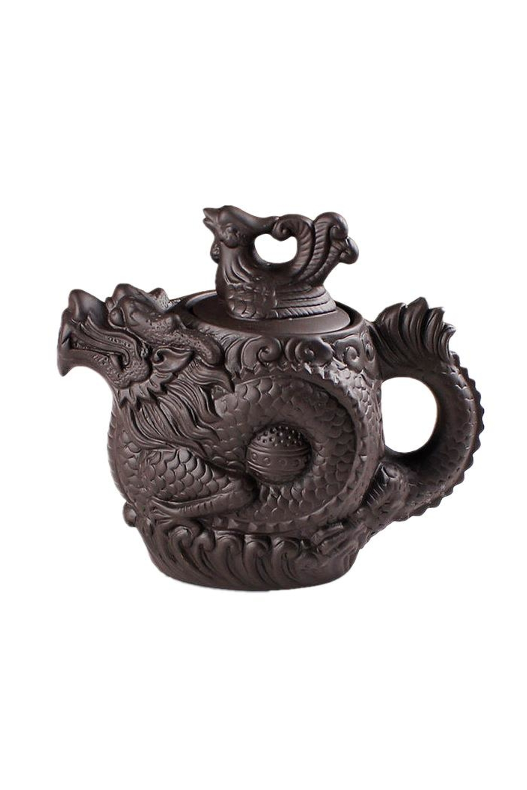 The Tea Farm Dragon Phoenix Clay Teapot - Front Cropped Image