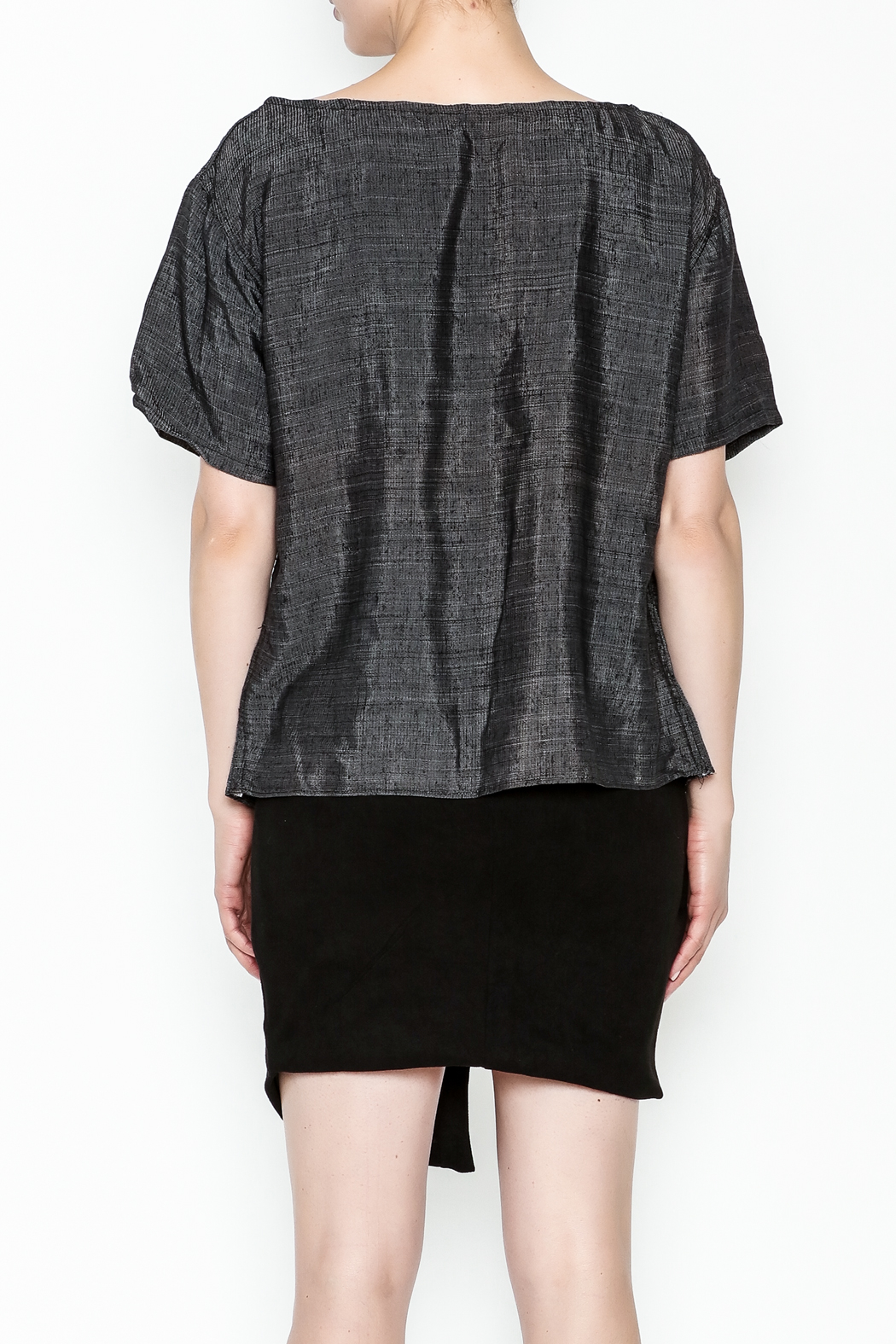 The Velvet Maple Designer Silk Blend Tee - Back Cropped Image