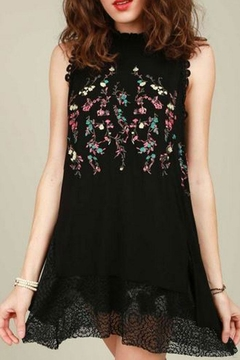 Shoptiques Product: Black Embroidered Tank