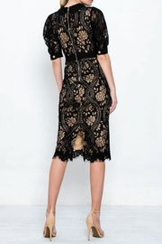 The Vintage Valet Black Puffsleeve Dress - Front full body