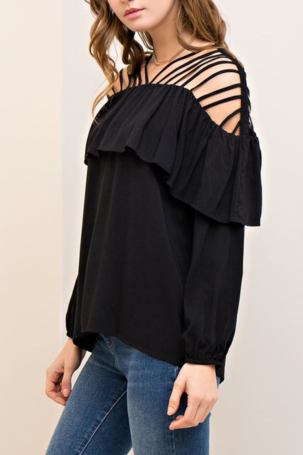 The Vintage Valet Black Ruffle Top - Front Full Image