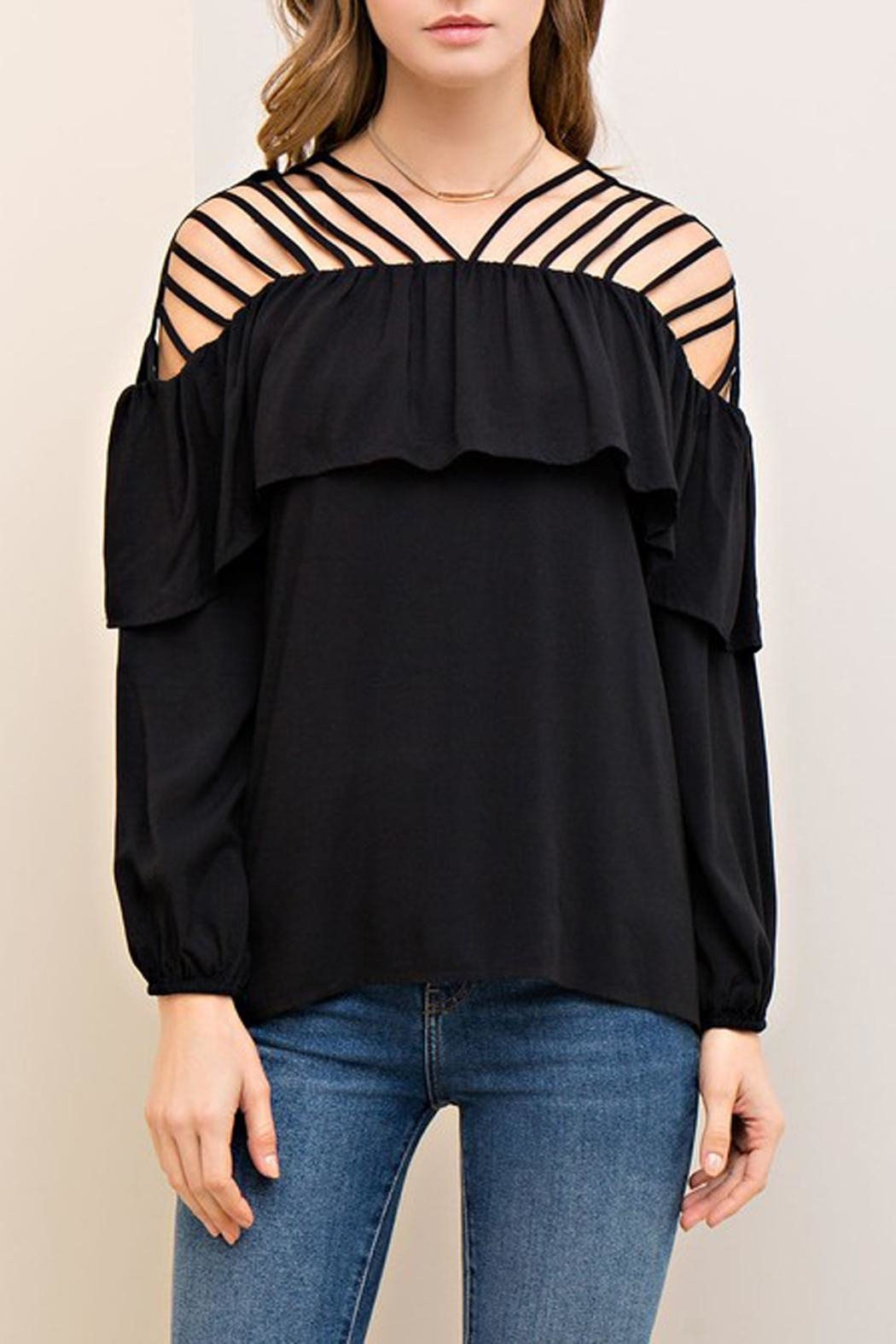 The Vintage Valet Black Ruffle Top - Main Image