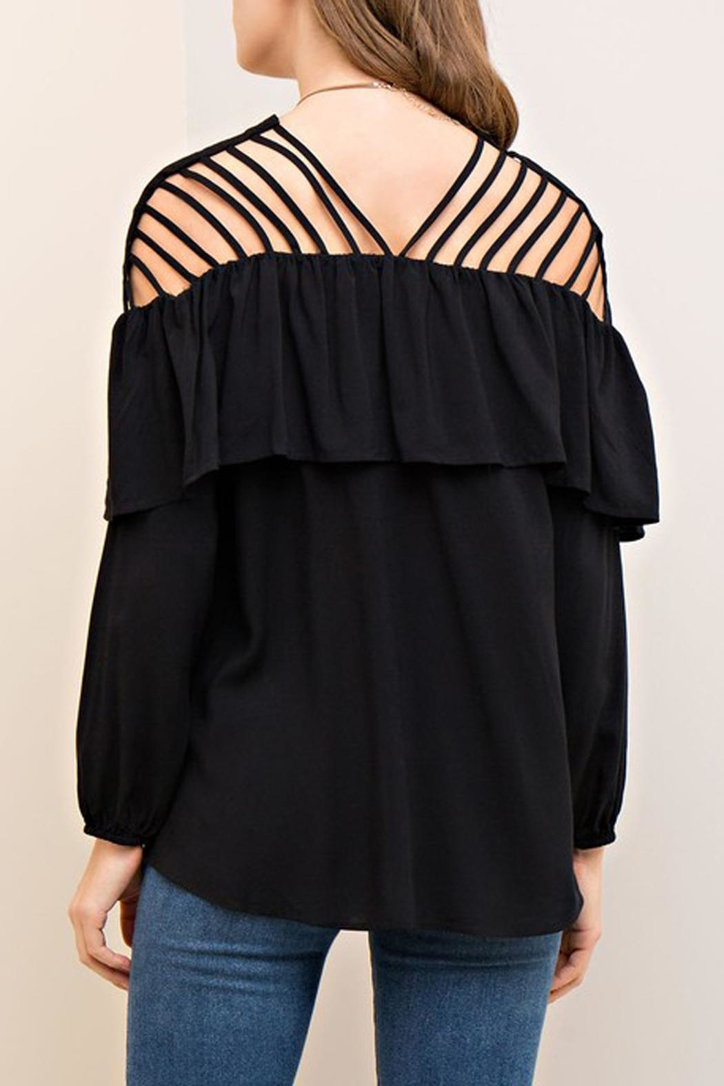 The Vintage Valet Black Ruffle Top - Side Cropped Image