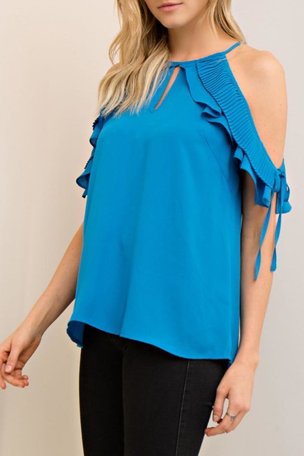 The Vintage Valet Blue Openshoulder Top - Main Image