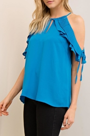 The Vintage Valet Blue Openshoulder Top - Front cropped