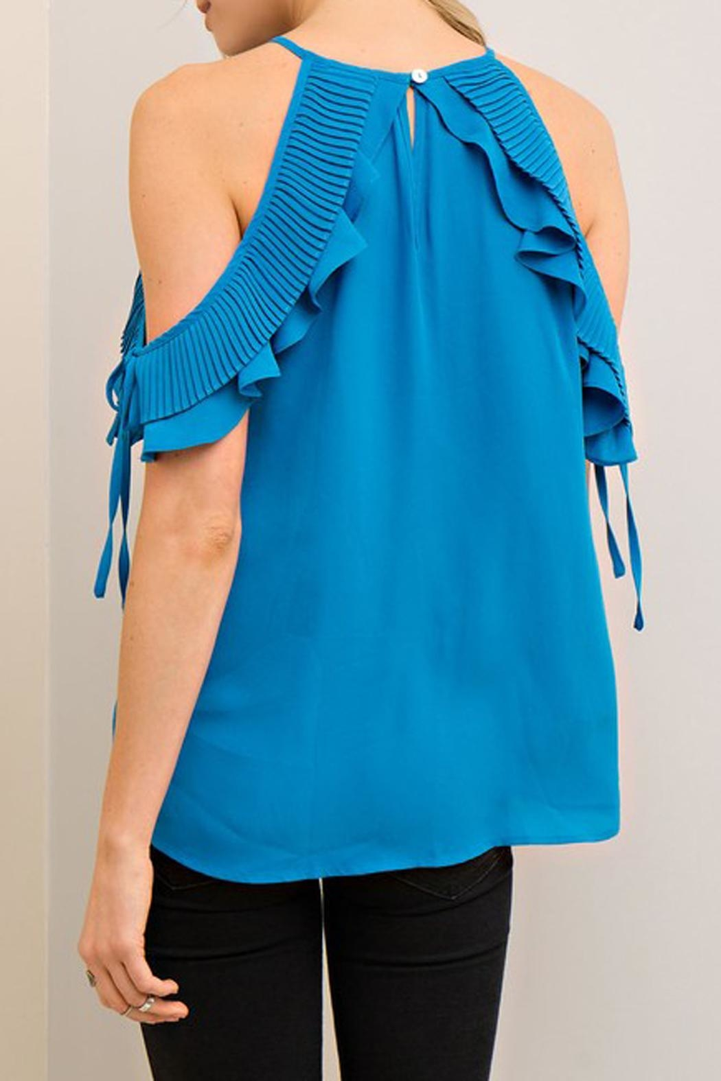 The Vintage Valet Blue Openshoulder Top - Front Full Image