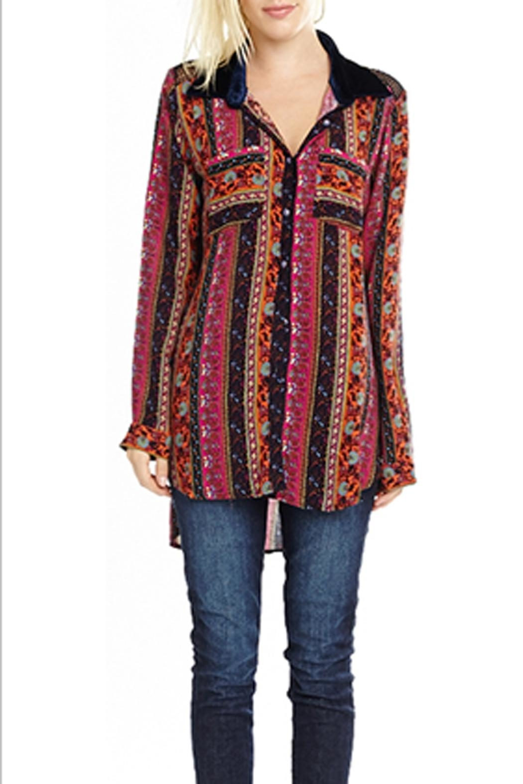 The Vintage Valet Embroidered Print Top - Front Full Image