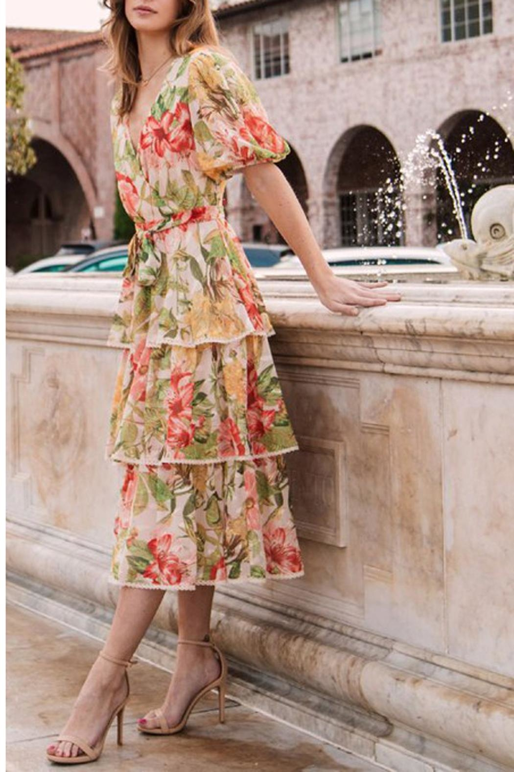 The Vintage Valet Floral Puffsleeve Dress - Main Image