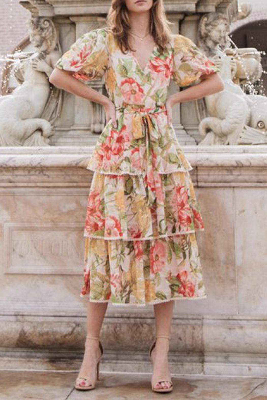 The Vintage Valet Floral Puffsleeve Dress - Front Full Image