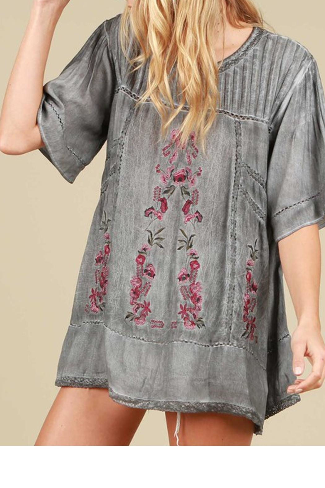 The Vintage Valet Gray Embroidered Top - Main Image