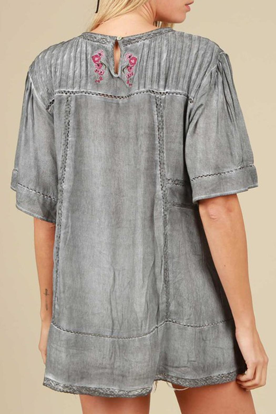 The Vintage Valet Gray Embroidered Top - Front Full Image
