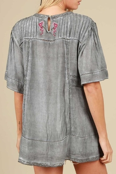 The Vintage Valet Gray Embroidered Top - Alternate List Image