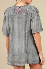 The Vintage Valet Gray Embroidered Top - Front full body