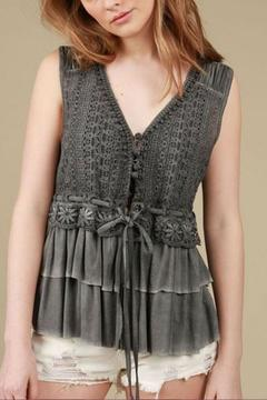 The Vintage Valet Grey Crochet Top - Product List Image