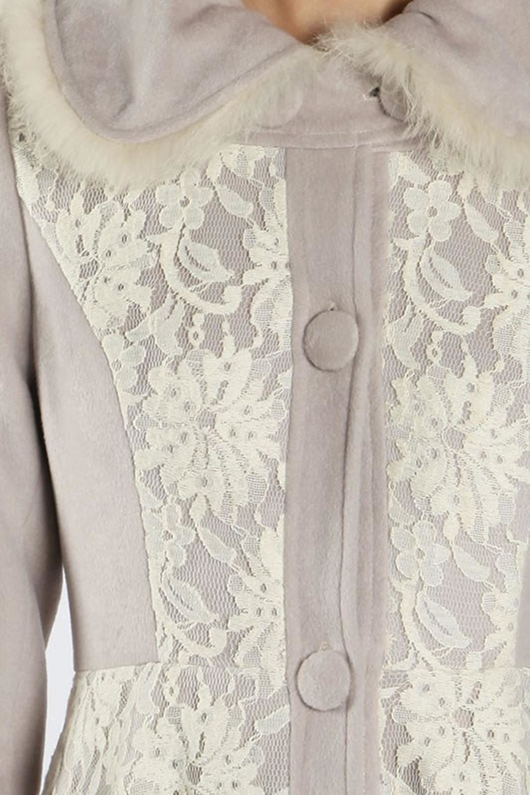The Vintage Valet Grey Lace Jacket - Side Cropped Image