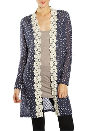 The Vintage Valet Navy Crochet Cardigan - Product Mini Image